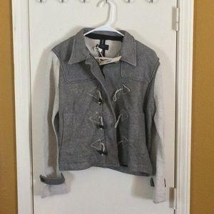 DIESEL women's gold shimmer toggle sweatshirt coat